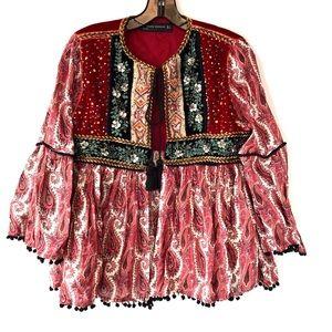 Zara Woman Velvet Contrast Festival Jacket paisley